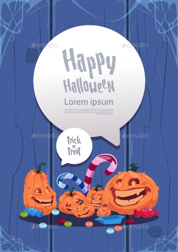 Happy Halloween Party Banner Pumpkins Traditional - Backgrounds Decorative