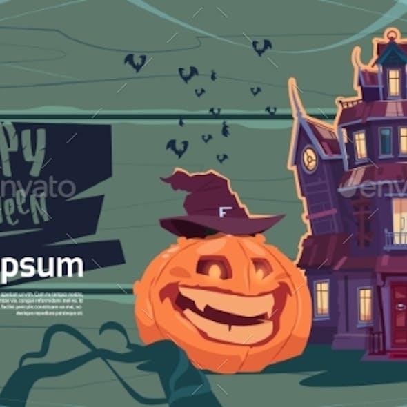 Happy Halloween Gothic Castle with Pumpkin