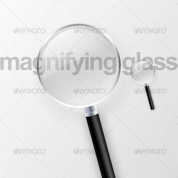 Magnifying glass front view + perspective view