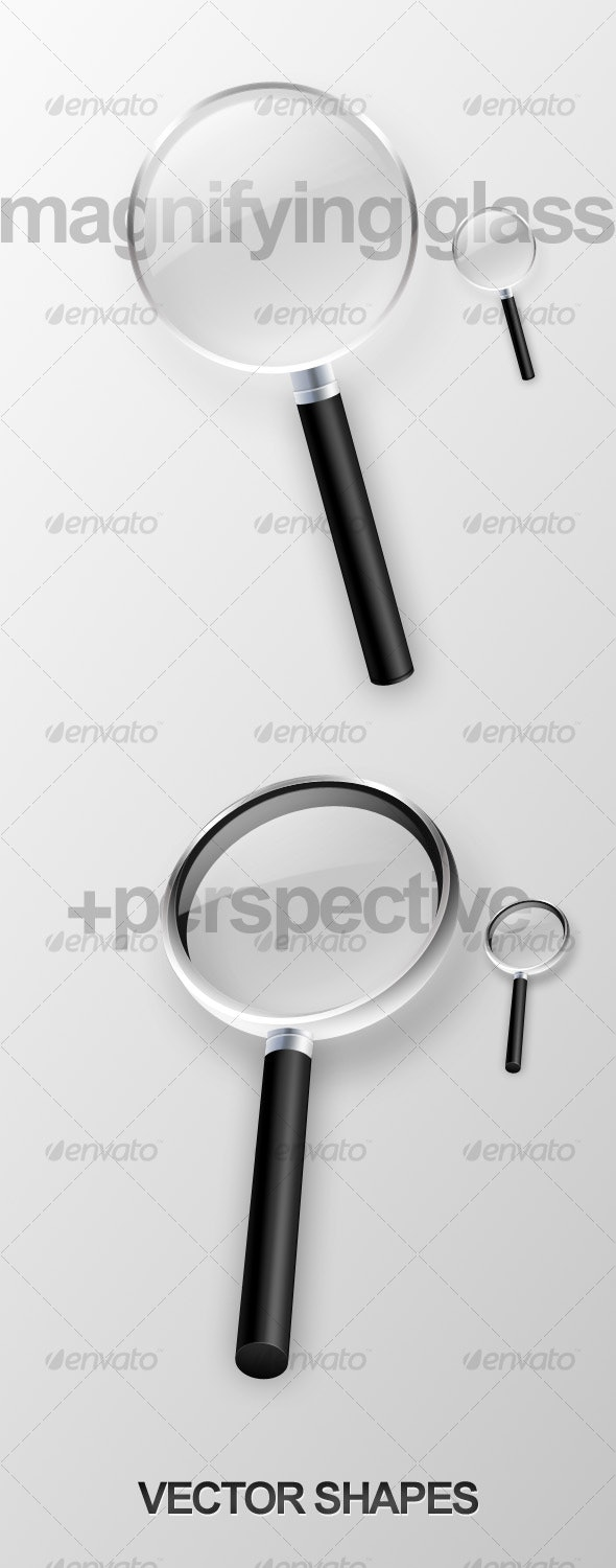 Magnifying glass front view + perspective view - Objects Illustrations