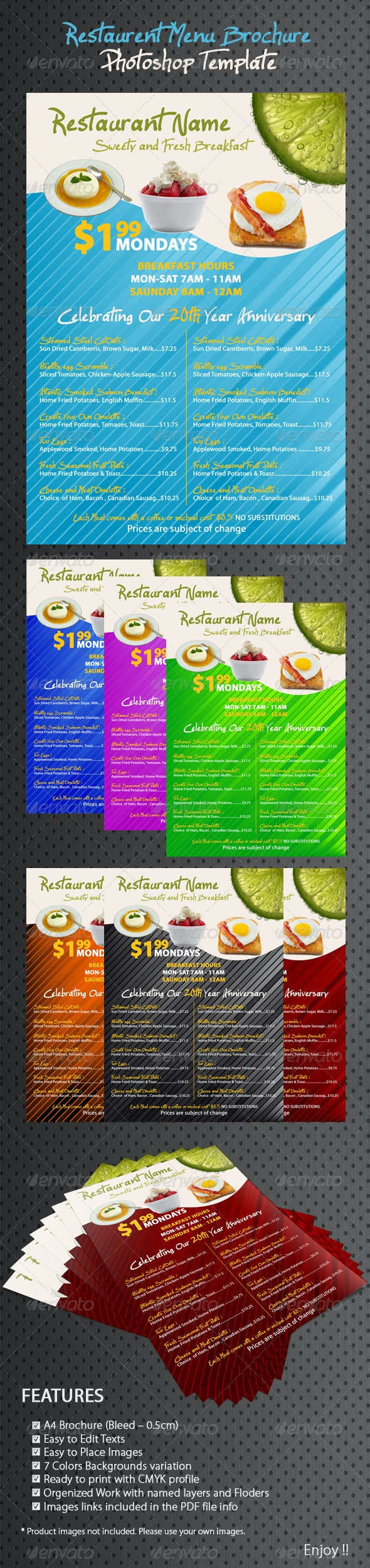 Restaurant/Coffee Breakfast Menu - Food Menus Print Templates