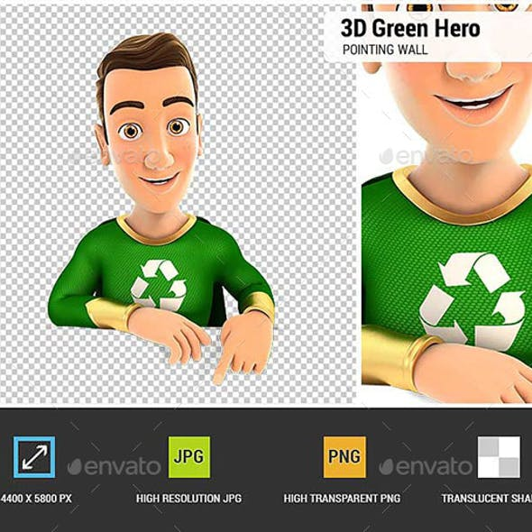 3D Green Hero Pointing to Empty Wall