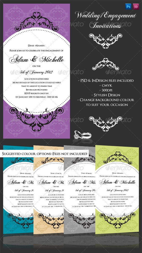 Wedding or Engagement invite with flourishes - Weddings Cards & Invites