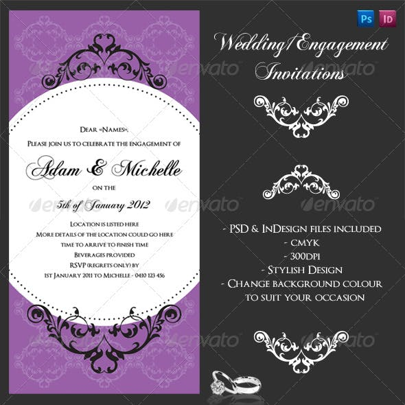Wedding or Engagement invite with flourishes