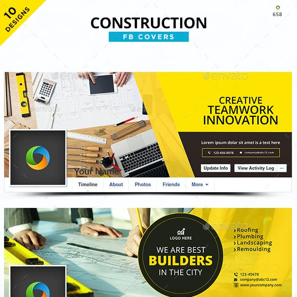 Construction Facebook Covers - 10 Designs