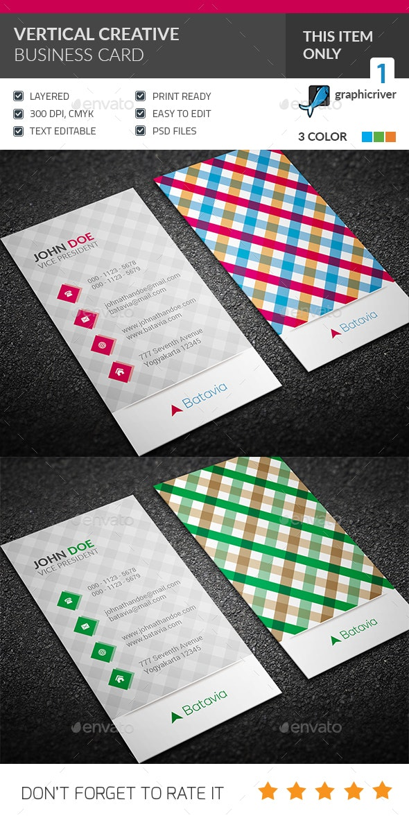 Vertical Creative Business Card - Corporate Business Cards
