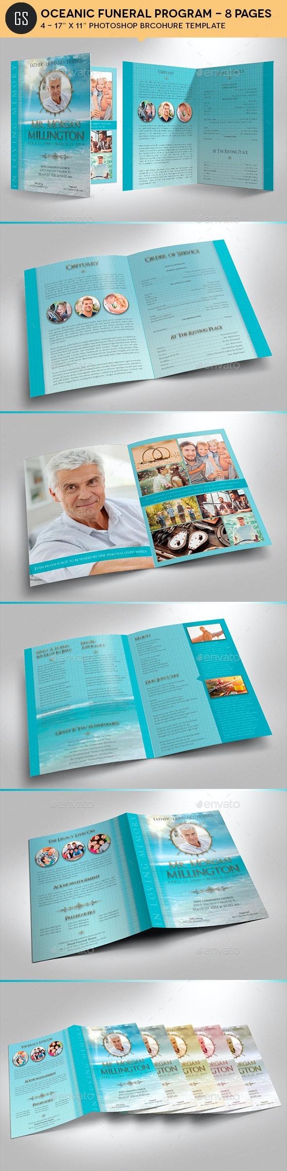Oceanic Funeral Program Large Template - 8 Pages - Informational Brochures