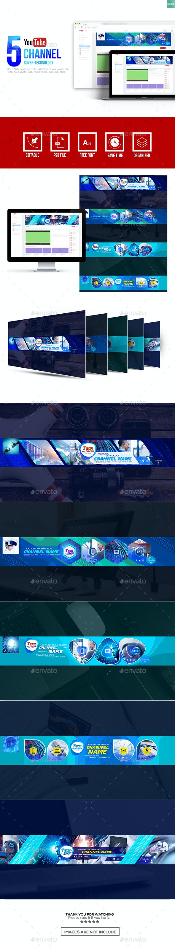 5 Tech Channel Youtube Banner Template