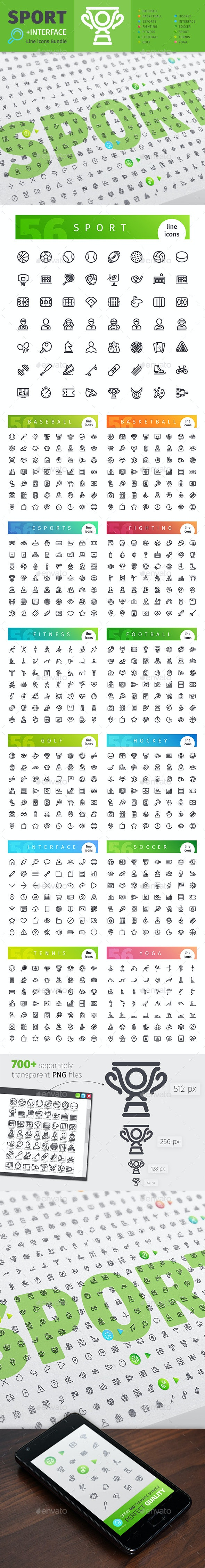 Sport Thematic Collection of Line Icons - Miscellaneous Icons