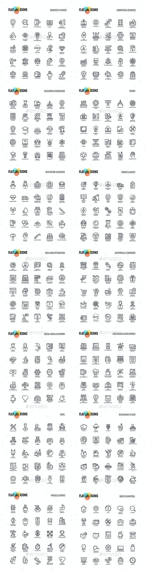 Big Collection of Set Flat Line Icons - Icons