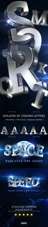 3D Chrome Letters - Text 3D Renders
