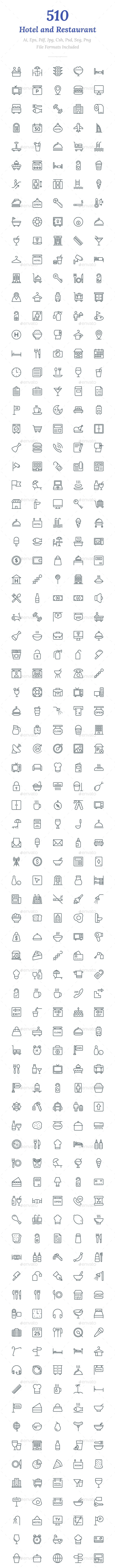 510 Hotel and Restaurant Line Icons - Icons