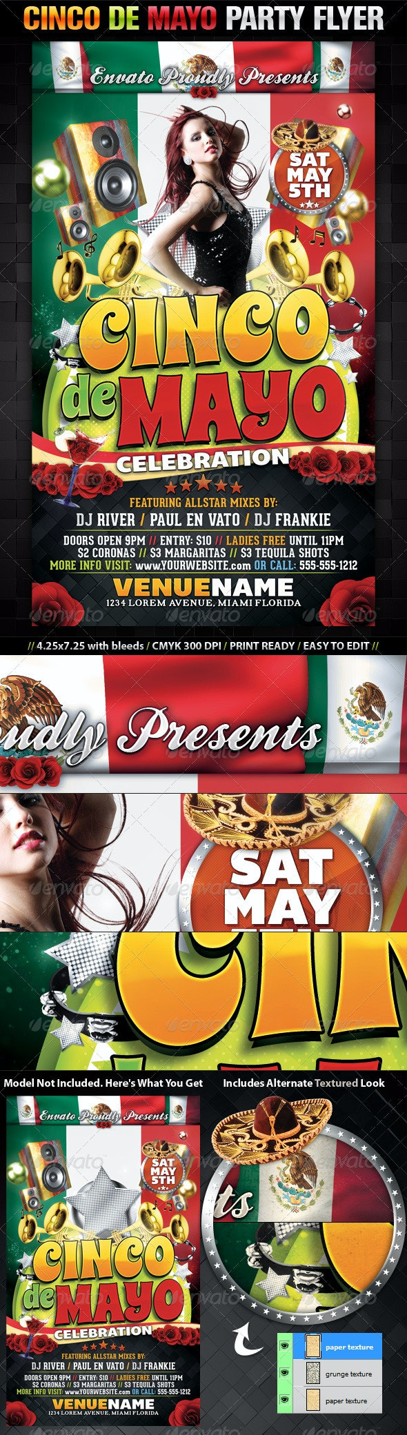 Cinco De Mayo Party Flyer Template - Clubs & Parties Events