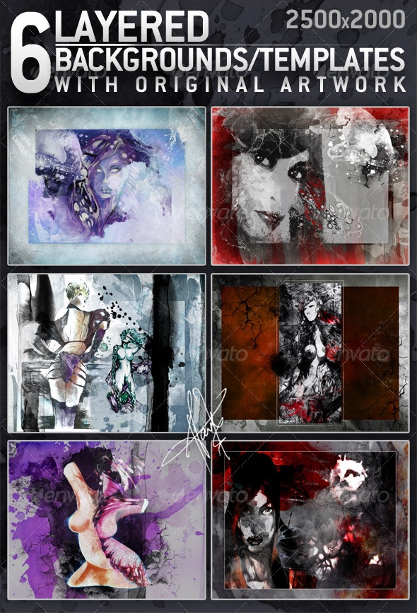 6 Layered Textures / Backgrounds with original art