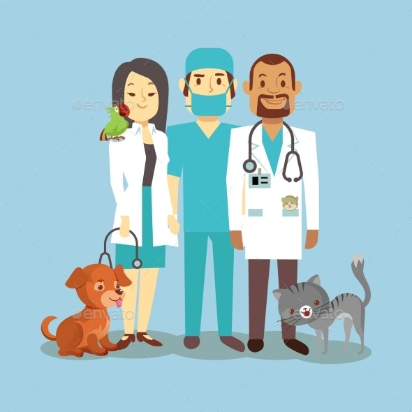 Veterinarian Staff with Pets Isolated on Blue - Characters Vectors