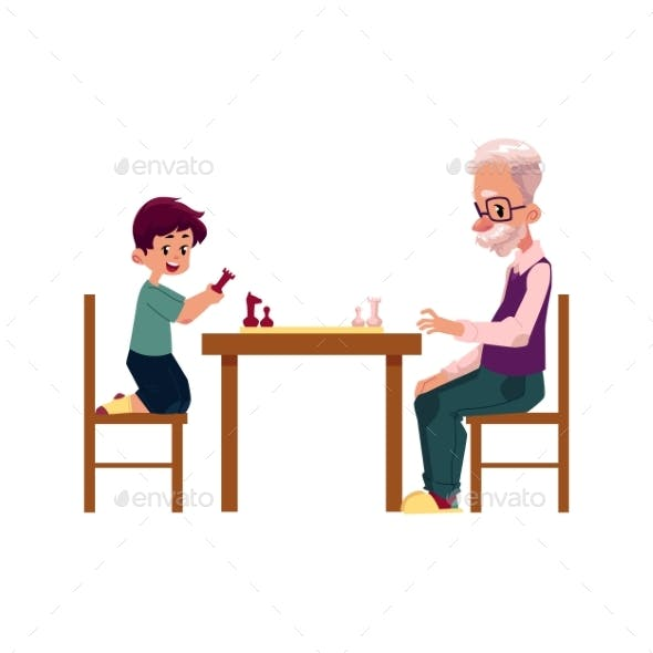 Grandfather Playing Chess with His Grandson