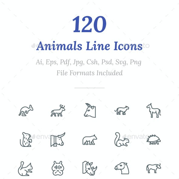 120 Animals Line Icons