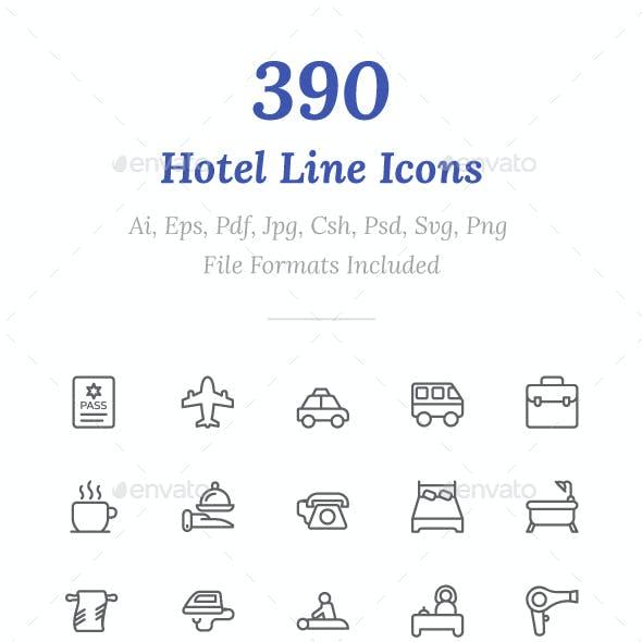 390 Hotel Line Icons