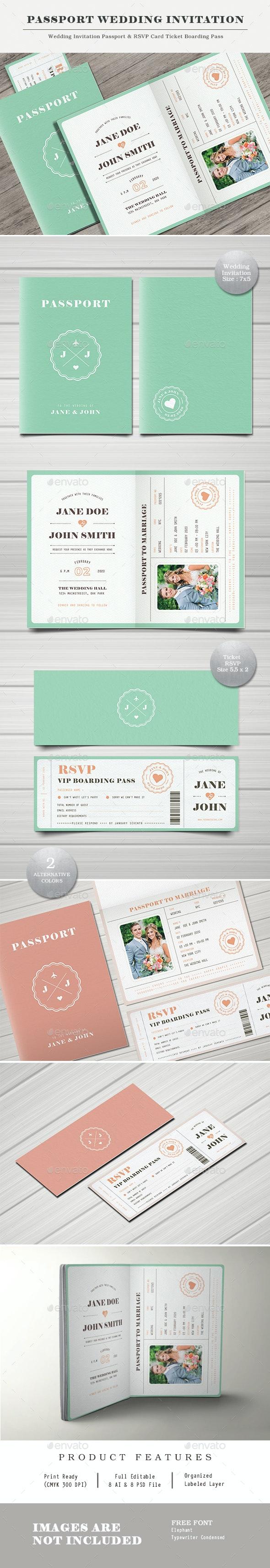 Pastel Passport Wedding Invitation - Wedding Greeting Cards