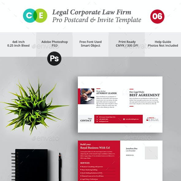 Legal Corporate Law Firm Business Postcard Invite V06