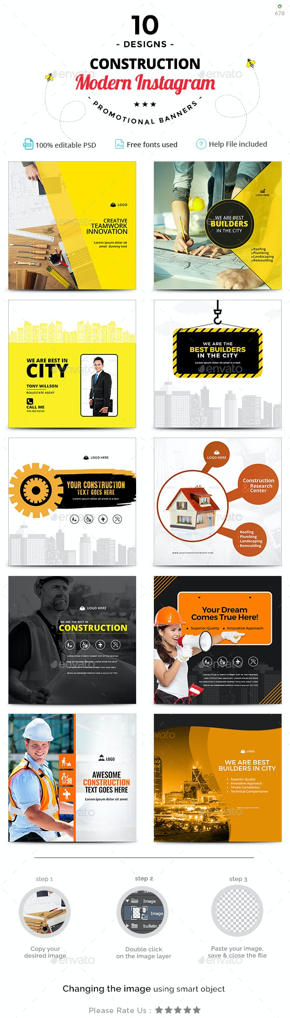 Construction Instagram Templates - 10 Designs - Miscellaneous Social Media