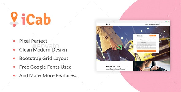 iCab Booking Landing Page Template - User Interfaces Web Elements
