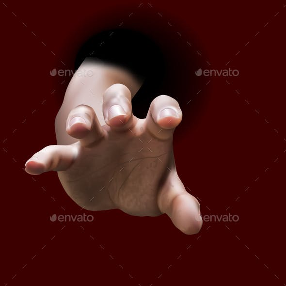 Male Hand Stretch Out From Black Hole