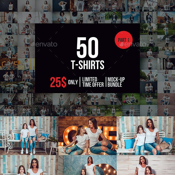 50 T-Shirts Mock-Up Bundle Part 1
