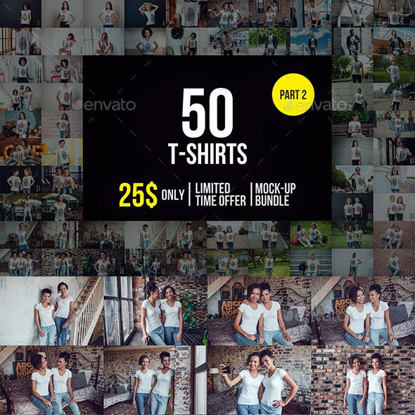 50 T-Shirts Mock-Up Bundle Part 2