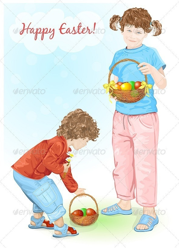 Happy Easter! Baby and little girl holding baskets - People Characters