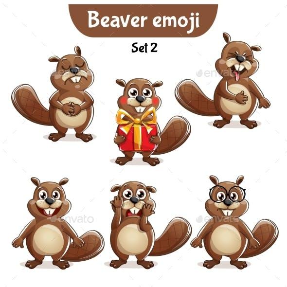 Vector Set of Beaver Characters Set 2