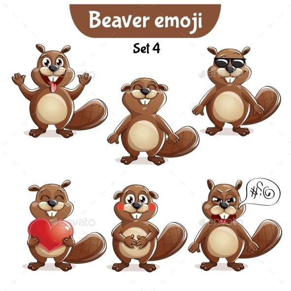 Vector Set of Beaver Characters Set 4