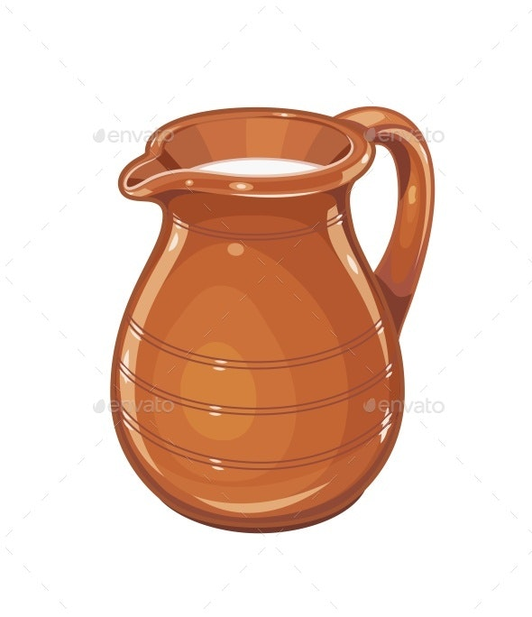 Ceramic Jug with Milk - Man-made Objects Objects