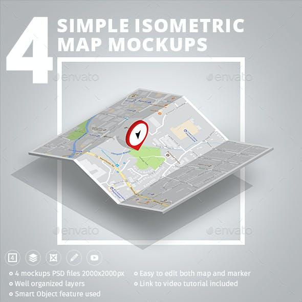 4 Simple Isometric Map Mockups