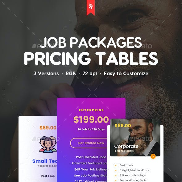 Job Packages Pricing Tables