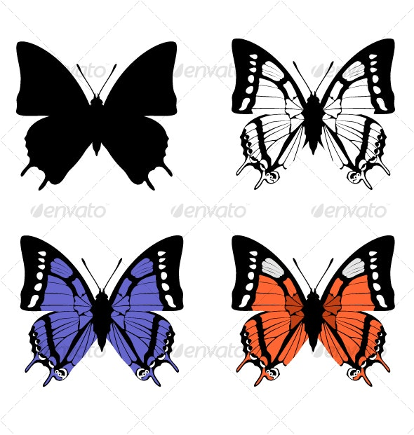 Butterfly black and color silhouette set 04 - Animals Characters