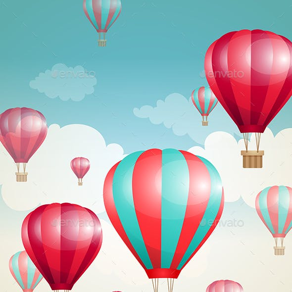 Red Air Balloons and Clouds