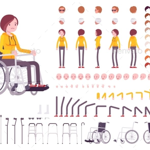 Female Young Wheelchair User Character Creation