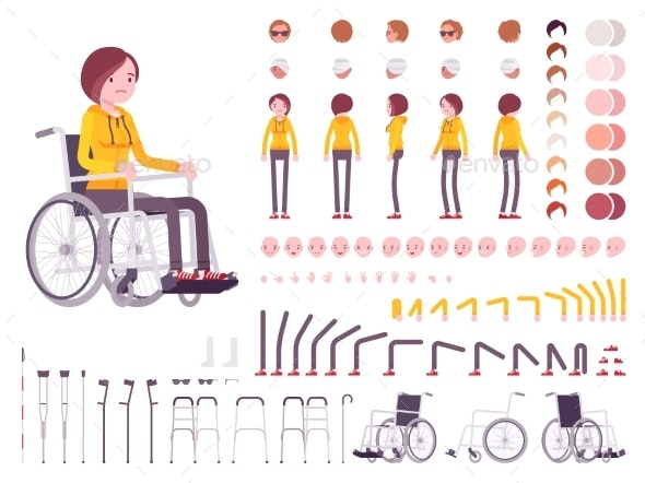 Female Young Wheelchair User Character Creation - People Characters