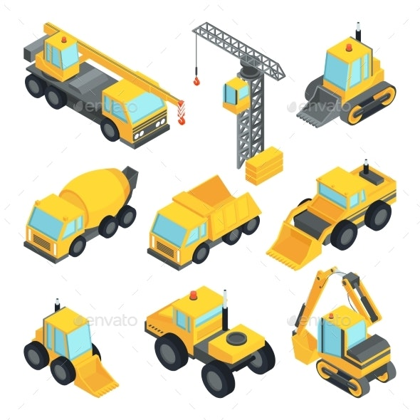 Different Technic for Construction Isometric Cars - Man-made Objects Objects