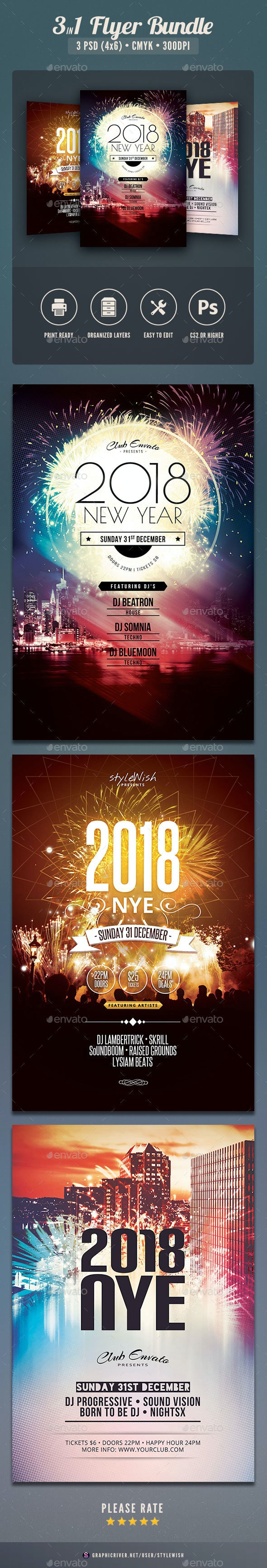 New Year Flyer Bundle Vol.02 - Clubs & Parties Events
