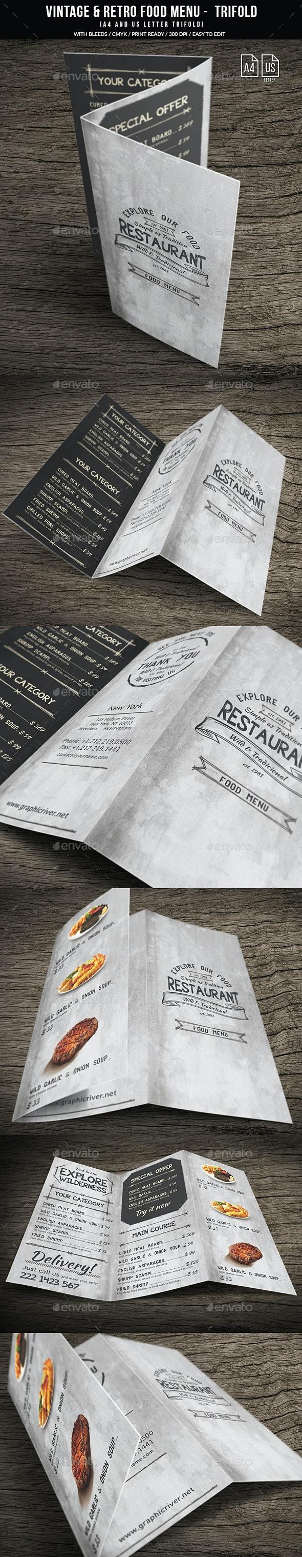 Vintage And Retro Trifold Menu A4 & US Letter - Food Menus Print Templates