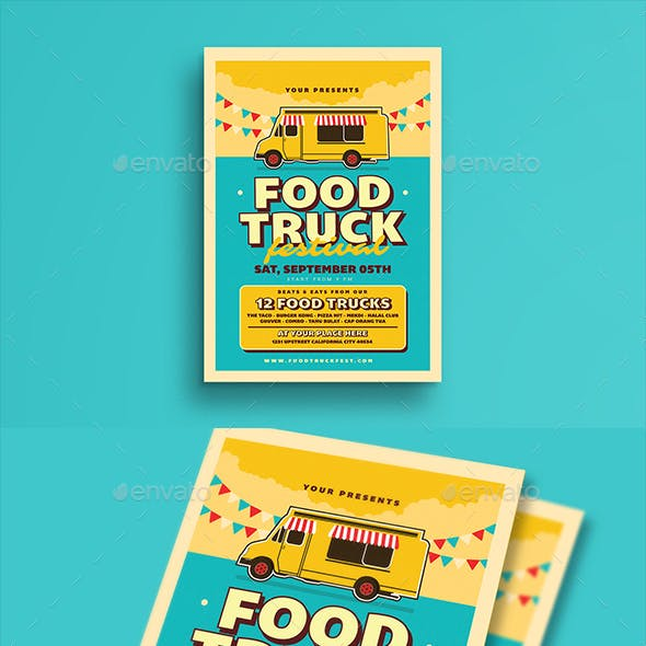 Retro Food Truck Event Flyer