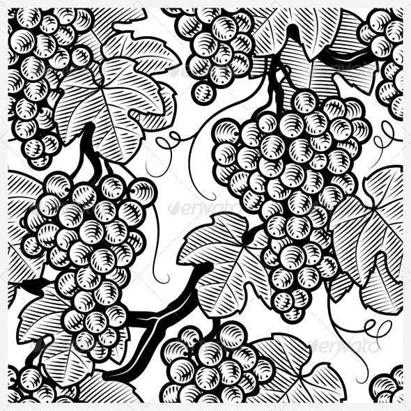 Seamless Grapes Background Black And White