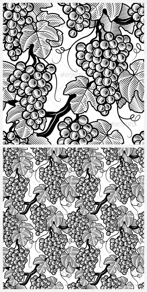 Seamless Grapes Background Black And White - Flowers & Plants Nature