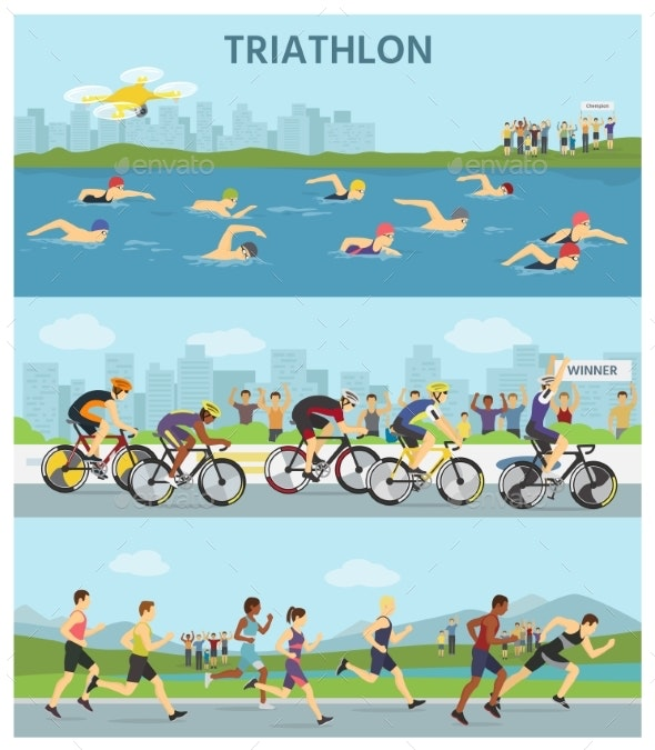 Triathlon Marathon Sport Competition Race - People Characters