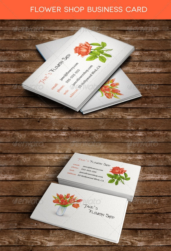 Flowery Shop Business Card - Industry Specific Business Cards