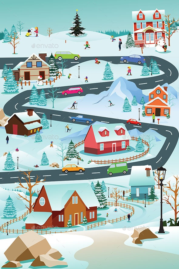 Winter Village With People Cars and Buildings Illustration - People Characters