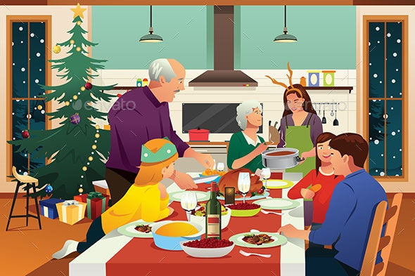 Family Having Christmas Dinner Together Illustration - People Characters