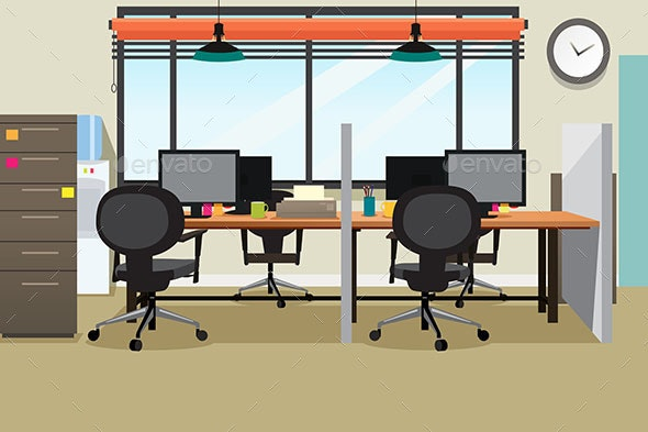 Empty Office Workplace Illustration - Business Conceptual